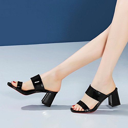 Eu34 liangxie Shoes Heeled In Ladies High KK Drag Black The Rough Word With Summer OCwcpqyd