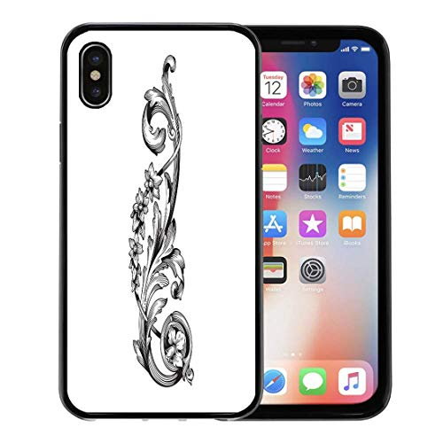 Emvency Phone Case for Apple iPhone Xs Case/iPhone X Case,Corner Classical Baroque of Vintage Filigree You for Wedding Soft Rubber Border Decorative, Black