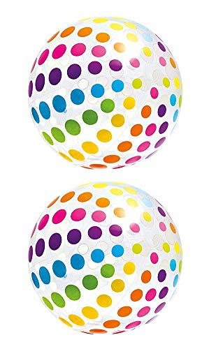 Intex Jumbo Inflatable Colorful Polka Dot Giant Beach Ball (Set of 2) | 59065EP for $<!--Too low to display-->