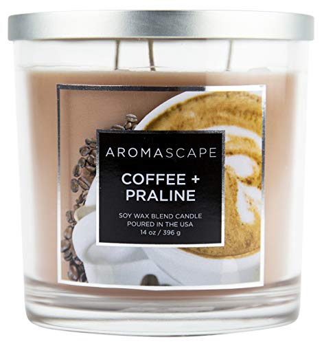 Aromascape 3-Wick Scented Jar Candle, Coffee & Praline