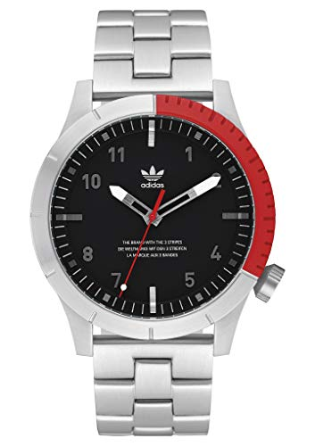 adidas Watches Cypher_M1. Men's 3 Link Solid Stainless Steel Bracelet, 22mm Width (Silver/Black/Red. 42 mm). ()