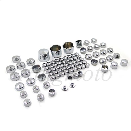 NBX- 87pc Chrome Bolt Cap Dress For Compatible with 00-06 Harley Softail Engine & Misc Bolt Nut Cover (Engine Chrome Dress)