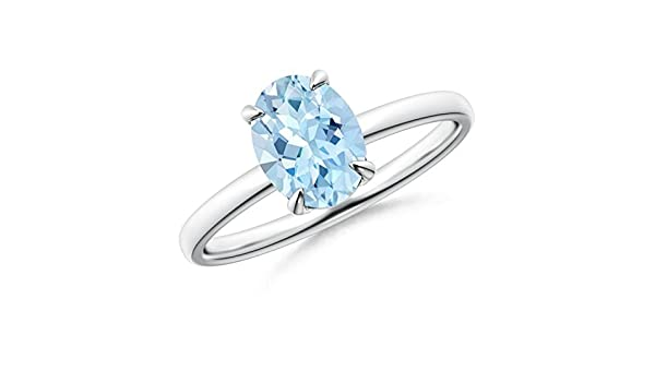 Angara Oval Aquamarine Solitaire Claw Prong Solitaire Ring
