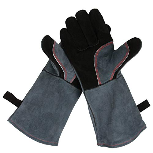 Mig Glove Tig Welder (Upgraded Leather Forge Welding Gloves - 932°F Fire/Heat Resistant Glove with Long Sleeve for Grill/Pot Holder/TIG Welder/MIG/Stove/Fireplace/BBQ - Five Fingers and Loose for Men and Women (16 inches))