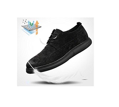 zmlsc Cuir Chaussures Hommes Casual Business Doux Arrondi Pointu Bande Printemps Été Automne Hiver Couleur Sports Black XdMov4