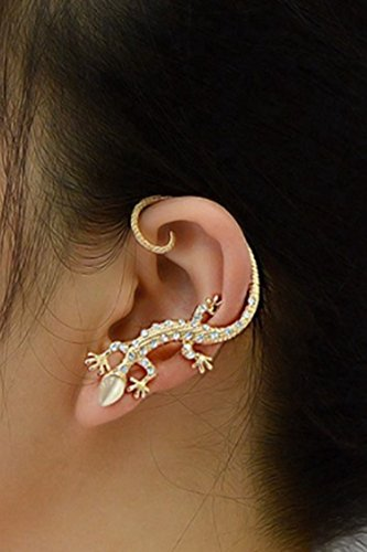 A&C Personality Gecko Earrings for Women, Fashion Eardrop & Dangle for Women. (Gold) (Just for Left (Gecko Dangle)