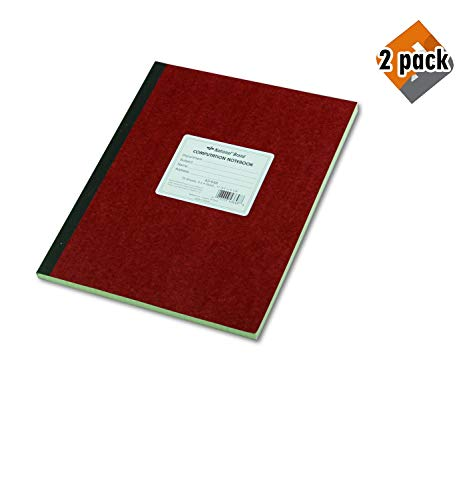 National Brand Computation Notebook, 4 X 4 Quad, Brown, Green Paper, 11.75 x 9.25 Inches, 75 Sheets (43648) 2-Pack ()