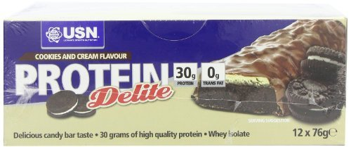 USN Protein Delite High Protein Snack Bars, Cookies and Cream - Box of 12 x 76 g by USN by USN