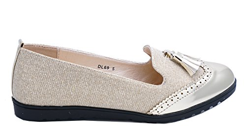Tilfeldig Komfortable Størrelse 3 Damene Sko Flate Smart Tassle Slip on 8 Heelzsohigh Arbeid Gull Loafers 7YZOqqUwz