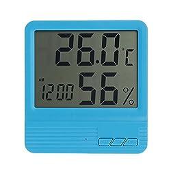 Qisuw Digital Thermometer Hygrometer -Indoor Temperature Humidity Meter Alarm Clock (Blue)