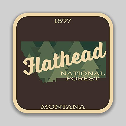JMM Industries Flathead National Forest Montana Vinyl Decal Sticker Car Window Bumper 2-Pack 4-Inches 4-Inches Premium Quality UV-Protective Laminate PDS1394