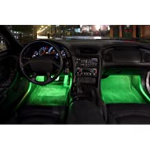 2 Piece High Quality Interior Footwell Trunk Light Strips Under Dash Kit (Green)