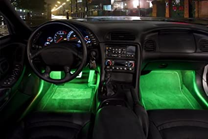 Awesome 2 Piece Interior Footwell Trunk Light Strips Under Dash Kit (Green)
