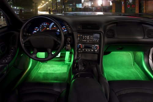 2 Piece Interior Footwell Trunk Light Strips Under Dash Kit (Green) (1973 Challenger Trunk)