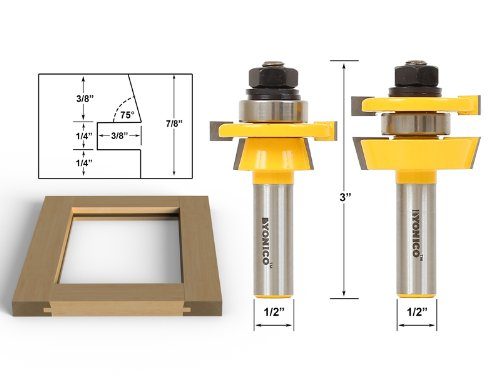 Yonico 12249 Rail and Stile Router Bit Set with 1/2-Inch Shank, 2-Piece