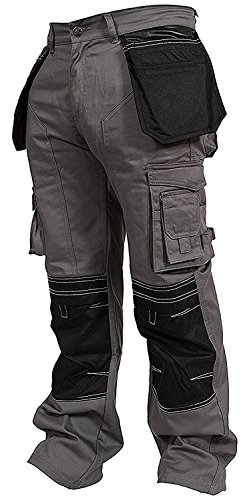 Newfacelook Mens Cargo Trousers Working Pants Cordura Knee Pockets ()