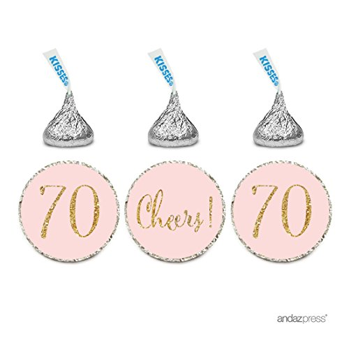 Andaz Press Gold Glitter Print Chocolate Drop Labels Stickers, Cheers 70, Happy 70th Birthday, Anniversary, Reunion, Blush Pink, 216-Pack, Not Real Glitter, for Hershey's Kisses Party Favors