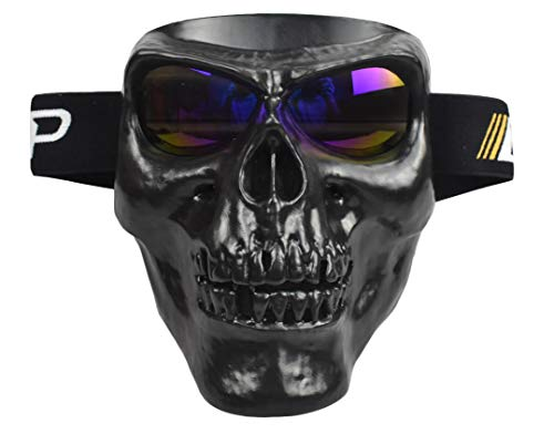 JFFCESTORE Motorbike Motorcycle Off-Road Riding Skull Full Mask with Goggles Glasses for Tactical Helmet M88,MICH Motorcycle Open Face Helmet(Black Blue Lens)