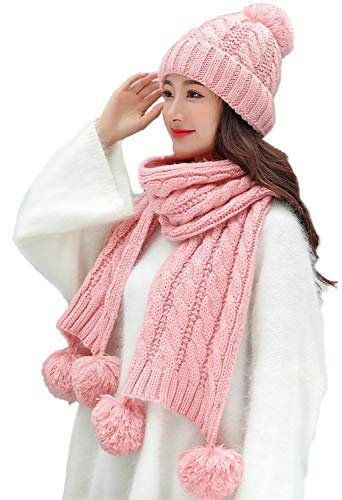 - Bienvenu Women's Knit Scarfs and Hat Set Thick Double-Layer Pom Skull Cap with Scarf, Pink_Style2