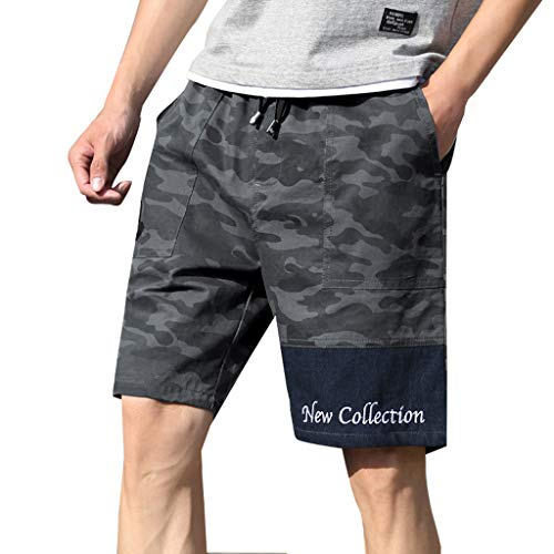 (XLnuln Men's New Summer Casual Loose Patchwork Camouflage Printing Beach Shorts Pants Stretch Boardshort Swim Short )