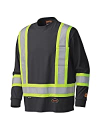 Pioneer V2580570-S Flame Resistant Long-Sleeved Cotton Safety Shirt, Black-Small