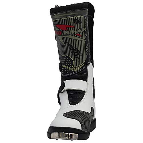 DSFGHE Stivali Stivali da Moto Alti da Uomo Anti-Slip Antipioggia da Motociclista Stivali da Crociera Impermeabili Scarpe da Protezione Calde White
