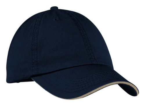 Port & Company Men's Washed Twill Sandwich Bill Cap OSFA Navy/Khaki