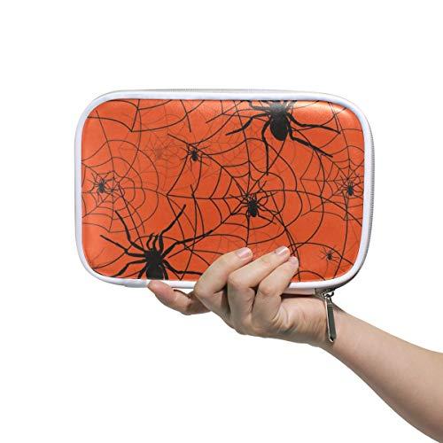 Halloween Scarlet Horror Spiderweb Big Pencil Case Multifunction Leather Cosmetic Brushes Bag Organizer Zip Bags