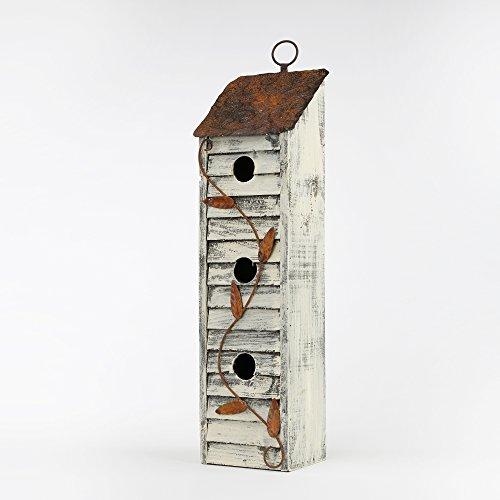 Glitzhome Tall Three-Tier Hand Painted Wood Birdhouse, - Birdhouses Wood
