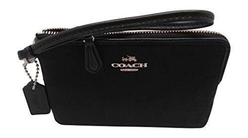 - Coach F54627 Outline Signature Corner Zip Wallets & Wristlets Black/Black