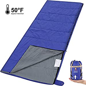 Andake Envelope Sleeping Bag, Machine Washable Lightweight Splash-Resistant with Compression Sack Great for 3 Season Indoor & Outdoor Use, for Hiking, Camping, Backpacking, Traveling (Single/Double) 10