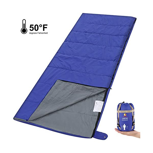 Andake Envelope Sleeping Bag, Machine Washable Lightweight Splash-Resistant with Compression Sack Great for 3 Season Indoor & Outdoor Use, for Hiking, Camping, Backpacking, Traveling (Single/Double) 3