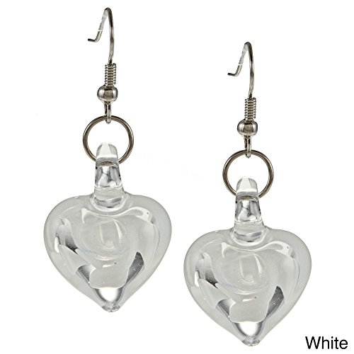 Bleek2Sheek Murano-inspired Heart Shaped Glass White Swirl Flower Heart Earrings - HYPOALLERGENIC