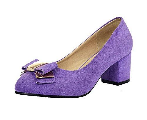 VogueZone009 Damen Rund Zehe Ziehen auf Mattglasbirne Rein Niedriger Absatz Pumps Schuhe Lila