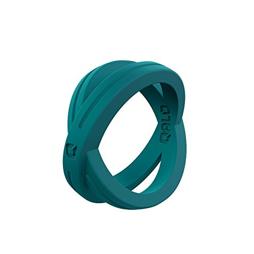Womens Teal Crossover Silicone Ring Size 07