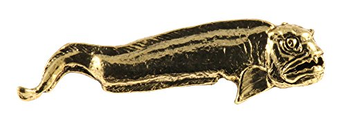 (Creative Pewter Designs Wolf EEL Adult 22k Gold Plated SG104 Lapel Pin, Brooch, Jewelry)