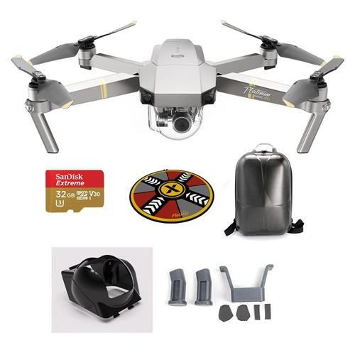 """DJI Mavic Pro Platinum with Remote Controller - Bundle With DJI Hard Case Backpack, FS Labs Heightened Landing Gear, FS Labs Sunhood, 32GB Micro SDHC Card, ExpoImaging 32"""" FlatHat Collapsible Pad"""
