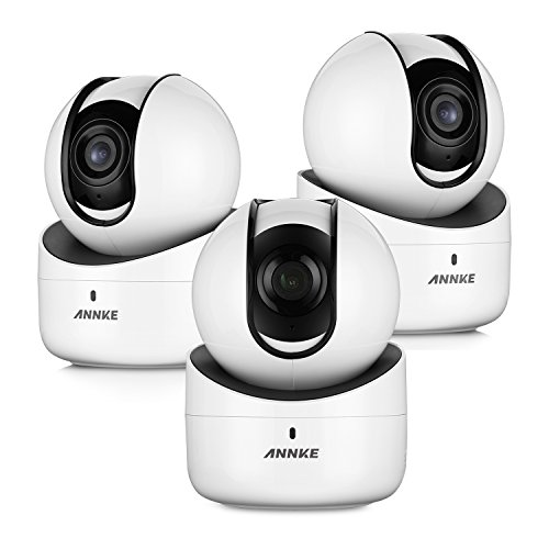 ANNKE (3) 720p Wireless PT Camera, 1.0MP Wi-Fi Camera with 2-Way Audio and Remote Pan/Tilt (White)