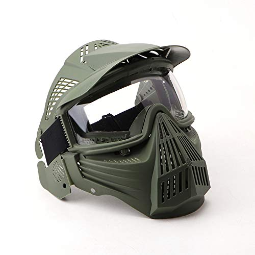 NINAT Tactical Paintball Mask, Airsoft Mask Full Face with Lens Goggles Eye Protection for CS Survival Games BBS Shooting and Other Airsoft Safety Mask Paintball Goggles-Green