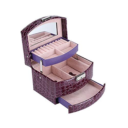 - TRENTON 3-Layer Jewelry Box, Women Makeup Organizer Boxes Mirror Storage Container Case Purple