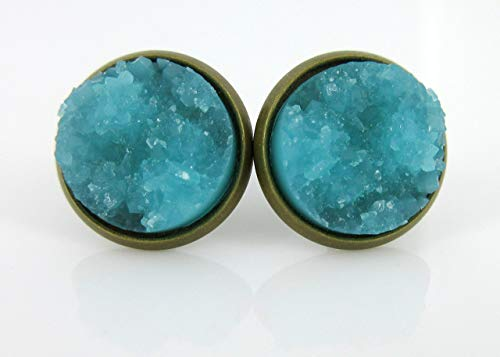 (Antiqued Gold-tone Aqua Blue Faux Druzy Stone Stud Earrings 12mm )