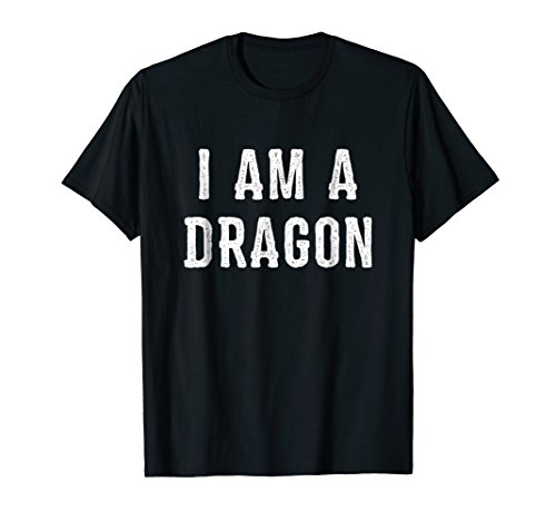 Mens I Am a Dragon Halloween T Shirt Easy Costume Idea XL Black