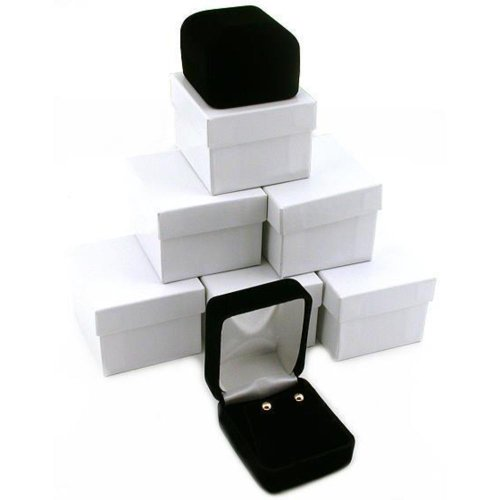 (FindingKing 6 Black Velvet Earring Boxes Displays Showcase Gift Box)