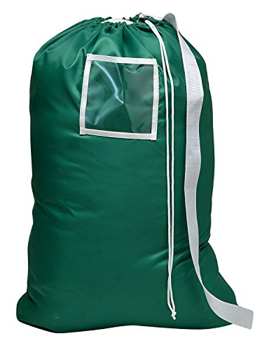 Carry Laundry Bag From Handy Laundry with Shoulder Strap, Large Size 24 Inches X 36 Inches, Commercial Grade 100% Nylon and Made in the USA - Designed for Heavy Duty Use - College Laundry Bag - Trips to Laundromat - Household Storage (Green)