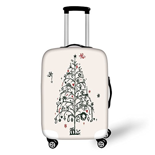 Travel Luggage Cover Suitcase Protector,Christmas Decorations,Fairies with Wands and Tree Hand Drawn Style with Wreath and Stockings,Red Green,for Travel (Christmas Wreath Kohls)