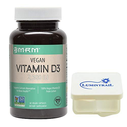 MRM Vegan Vitamin D3 2500 IU Supports Bone Health, 60 Vegan Capsules Bundle with a Lumintrail Pill Case