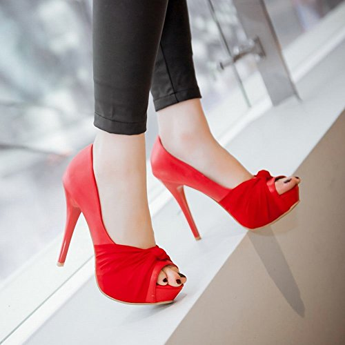 toe Stiletto Peep High Shoes Sweet Court Mee Leather PU Shoes heel Red xSHqwgB8