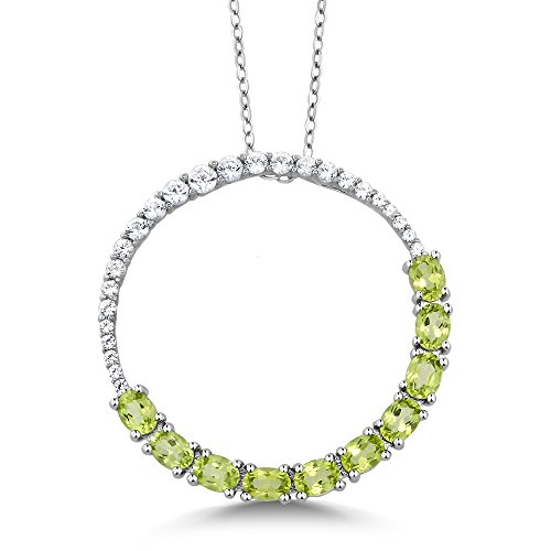 Gem Stone King 925 Sterling Silver Peridot Circle Pendant Necklace (2.40 Cttw, 1 Inch, With Complimentary Chain)