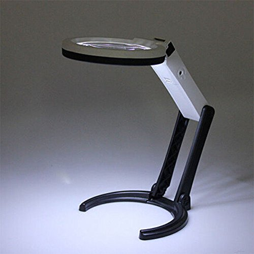 10 LED Lighting Desk Handheld Table Lamp With 1.8X 5X Bench Magnifier - Glasses Meaning Measurements