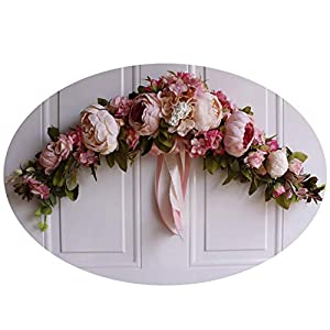 Miao Express Rose Peony Artificial Flowers Garland European Lintel Wall Decorative Flower Door Wreath for Wedding Home Christmas Decoration 68